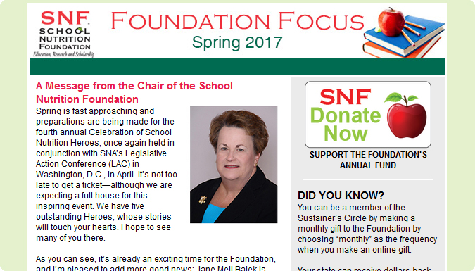 Read the School Nutrition Foundation's Foundation Focus newsletter