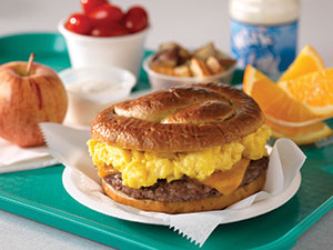 Sausage, Egg and Cheese Pretzel Brunch