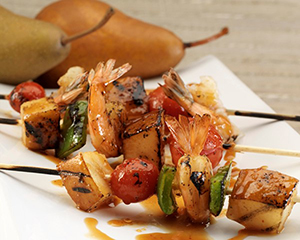 Asian Shrimp Pear Skewers--Pear Bureau Northwest
