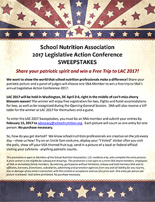 SNA's 2017 Legislative Action Conference (LAC) Sweepstakes