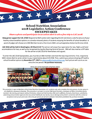 SNA's 2018 Legislative Action Conference (LAC) Sweepstakes