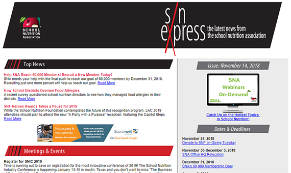 Get the Latest School Nutrition News with SNA's SN Express Newsletter